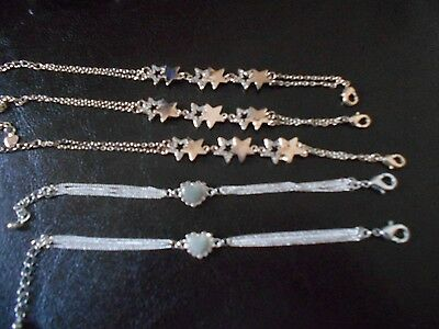 Lot of 5 - Fashion Jewelry Silvertone Girls Bracelets (Lot 27)
