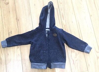 Baby Boys Navy Zip Up Hooded Top Hoody Age 12 -18 Months