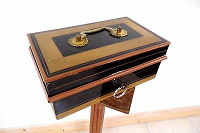 Edwardian Cash box tin TOLEWARE large antique gold black
