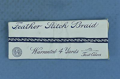 Antique 1911 EDWARDIAN BLUE FEATHER STITCH BRAID UNUSED in PACKAGE 4 YDS #03906