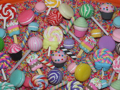 CandyCabsUK Mixed Clay/Resin Cabochons Sprinkles FAKE Topping Macaroons Flumps