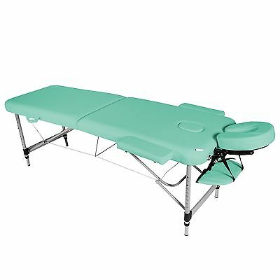 Green Lightweight Aluminium 2-Section Reiki Portable Massage Table Couch Bed