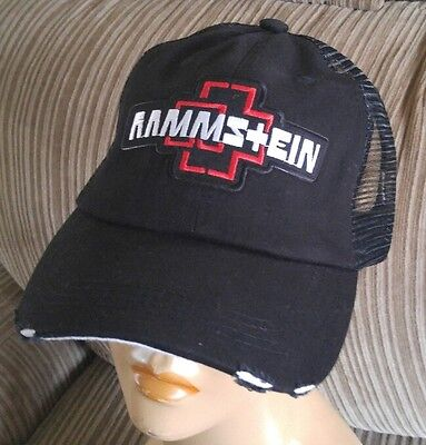 Rammstein Rock Band Distressed Black Mesh Back Trucker Cap Low Profile Cotton