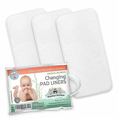 Brooklyn Bamboo Changing Pad Liners 3 Pk SOFT Reusable Waterproof Absorbent