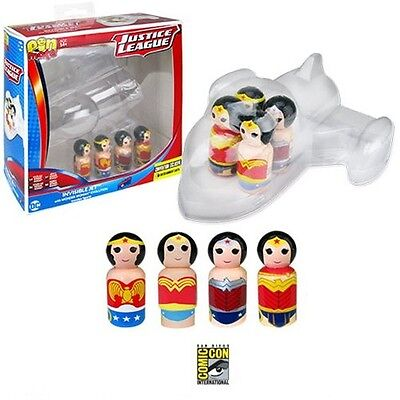 2017 SDCC COMIC Con Invisible Jet Wonder Woman Pin Mate Wooden Figure Set of 4!!