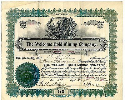 1901 Welcome Gold Mining Co.  Stock Certificate