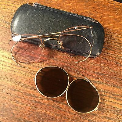 Vintage Glasses Artcraft Sunglasses Wire Rimmed 1/10 12 GF w Case PRIORITY MAIL