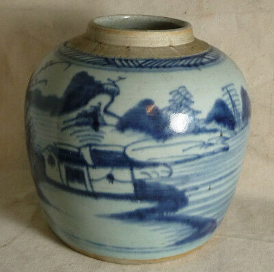 Antique 18/19th century Chinese Large Blue & White Canton Porcelain Storage Jar