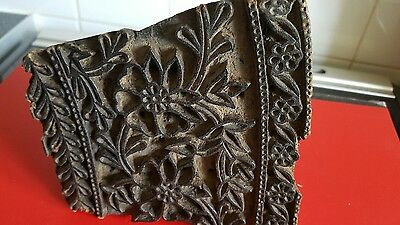 Antique Wood Textile and plaster Print Block