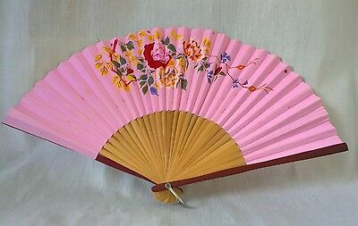 Vintage retro mid century handpainted floral wood ? chinese paper hand fan