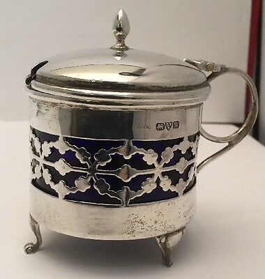 Antique High Quality, Chester Silver Mustard Pot & Liner, J & R Griffin, 1922