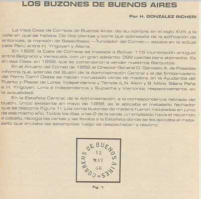 Philatelic papers on agencias expendedoras; buzones de Buenos Aires & buzones.