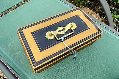 Victorian Cash box tin TOLEWARE large antique gold black