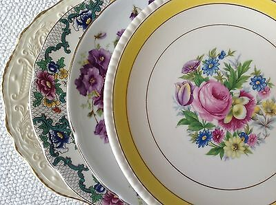 "Set 4 Vtg Mismatched China Salad Dessert Cake Plates 8"" to 8.5"" Colorful Florals"