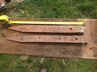 (2) Two Antique Barn Door Hinges Straps Vintage Hardware Hand Forged, pair 23in