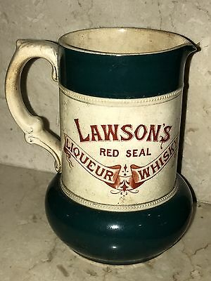 LAWSON'S RED SEAL LIQUEUR WHISKY ANTIQUE STONEWARE WHISKEY PUB JUG PITCHER 1890s