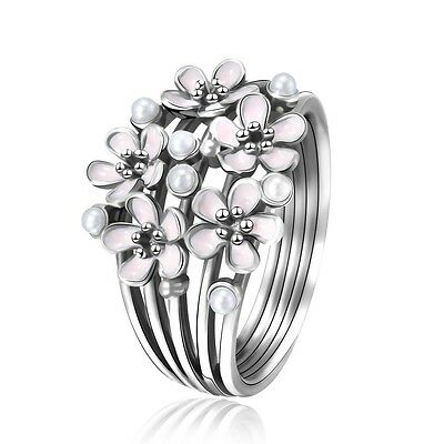 New Design Lots Pink Flowers 925 Silver Fashion Pearl Ring Woman 2017 Jewelry