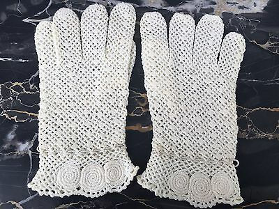 Vintage Women's White Driving Gown Dress Knitted Wrist Gloves