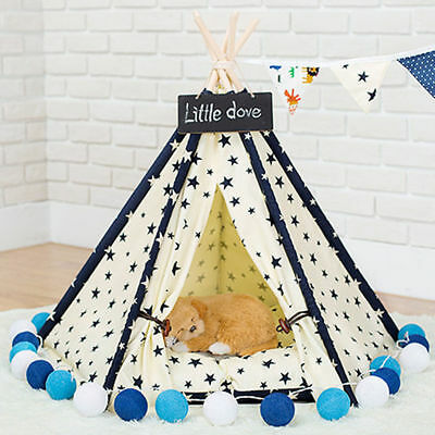 Pet Tent Indian Teepee Canvas Tipi for Dogs Cats Puppy Kitty Rabbits EB2