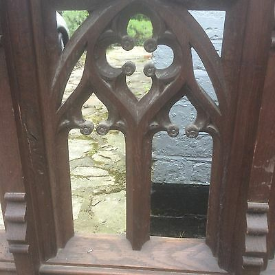 Large Victorian Carved Oak Church Gothic Rail Screen Panel Tracery