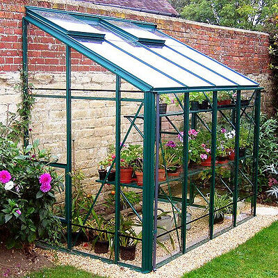 greenhouse 6x6 lean to 3mm toughened glass black aluminium frames