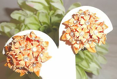 Vintage Hard Plastic Clip On Earrings Orange Flower Cluster Rhinestones