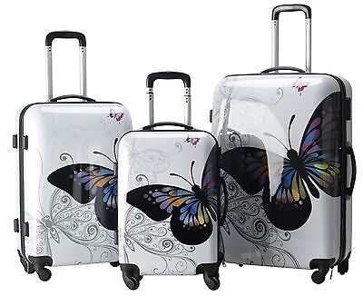 Suitcase Luggage Set of 3 Hard Shell 4 Wheel Spinner Travel Flight Bags Womens