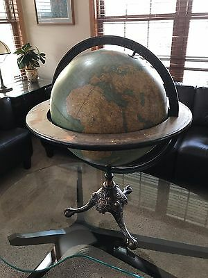 Huge Gorgeous Antique Rand Mcnally 18 Inch Terrestrial Globe With Cast Stand