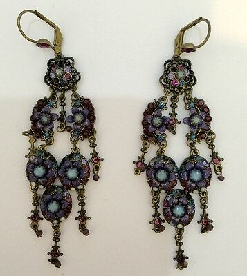 Michal Negrin Antique Vintage Style Dangling Dangle Earrings Swarovski Crystal