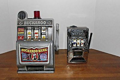 "2 Vintage Casino Slot Machine ""Buckaroo Bank"" & ""Casino Prince"" Toy Coin Banks"