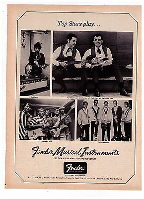 """1966 Fender Musical Instruments """"Dylan, Beach Boys Challengers"""" Vintage Print Ad"""