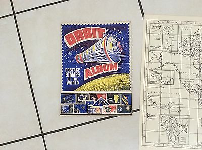 "vintage orbit stamp album rare with its ""pullout"" map of the world"