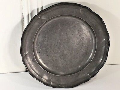 """Antique 19th Century Queen Anne Scalloped Edge Pewter 9"""" Plate Cristofle"""