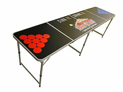 Official Size 8' Foot Folding Beer Pong 4 Section Table Party Games - Black