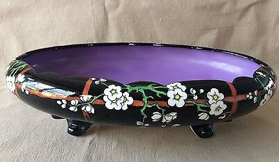 Gorgeous Art Deco SOHO POTTERY - Oval FRUIT BOWL with 4 feet - Solian Ware