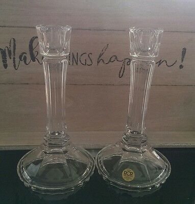 Pair RCR crystal candlesticks holders