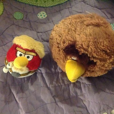Two ANGRY BIRDS SOFT TOYS LUKE SKYWALKER CHEWBACCA STAR WARS UNPLAYED WITH