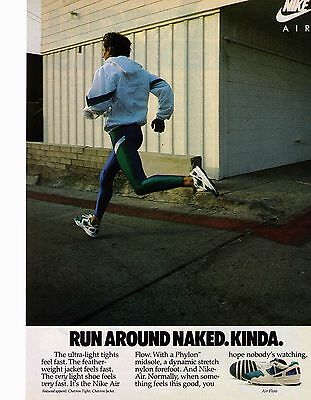 "1988 Nike ""Air Flow"" Run Around Naked REPRODUCTION Shoe Print Advertisement"