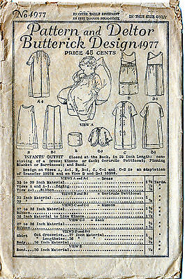 Complete 1919 Baby or Doll Infant Layette 5 Outfits Vintage Antique Pattern