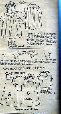 Charming 1907 Half Year Size Baby Child's Dress Vintage Antique Pattern