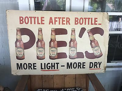 "Rare Vintage 1953 28x44""  Piels Light Beer Advertising Sign More Light More Dry"
