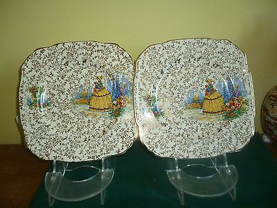 Vintage 1940s J.Fryer & Son 2 x Cake plates Yellow Crinoline Lady- Beautiful
