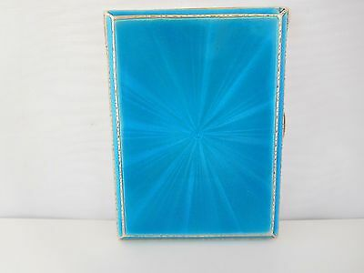 Stunning English Sterling Silver & Enamel Guilloche Card / Cigarette Case