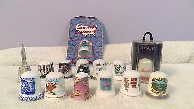 Thimble collection set of 14 mostly state or tourist locations empire state buil