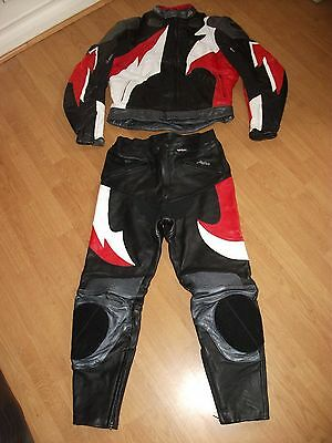 Buffalo Leather Motorcycle Motorbike Two Piece Trousers And Jacket
