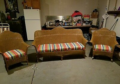 Antique Lloyd Loom 3pc  Wicker Furniture Set In *Amazing Condition*