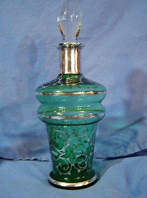 Vntg Art Nouveau Glass & Sterling Silver Overlay Liquor Decanter Bottle  Barware
