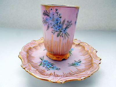 Antique Limoges Chocolate Pink Cup Saucer Set Floral Forget Me Not Flowers HP