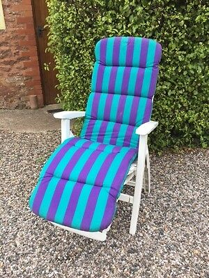 1990s M&S Garden Recliner Chair complete with striped cushion