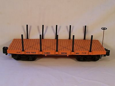 Lionel G Scale Illinois Central Gulf Flat Car w/Stakes, VG-EX